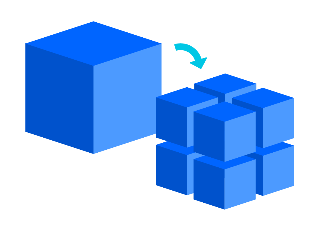 A diagram showing how a large cube can be broken into many smaller cubes.