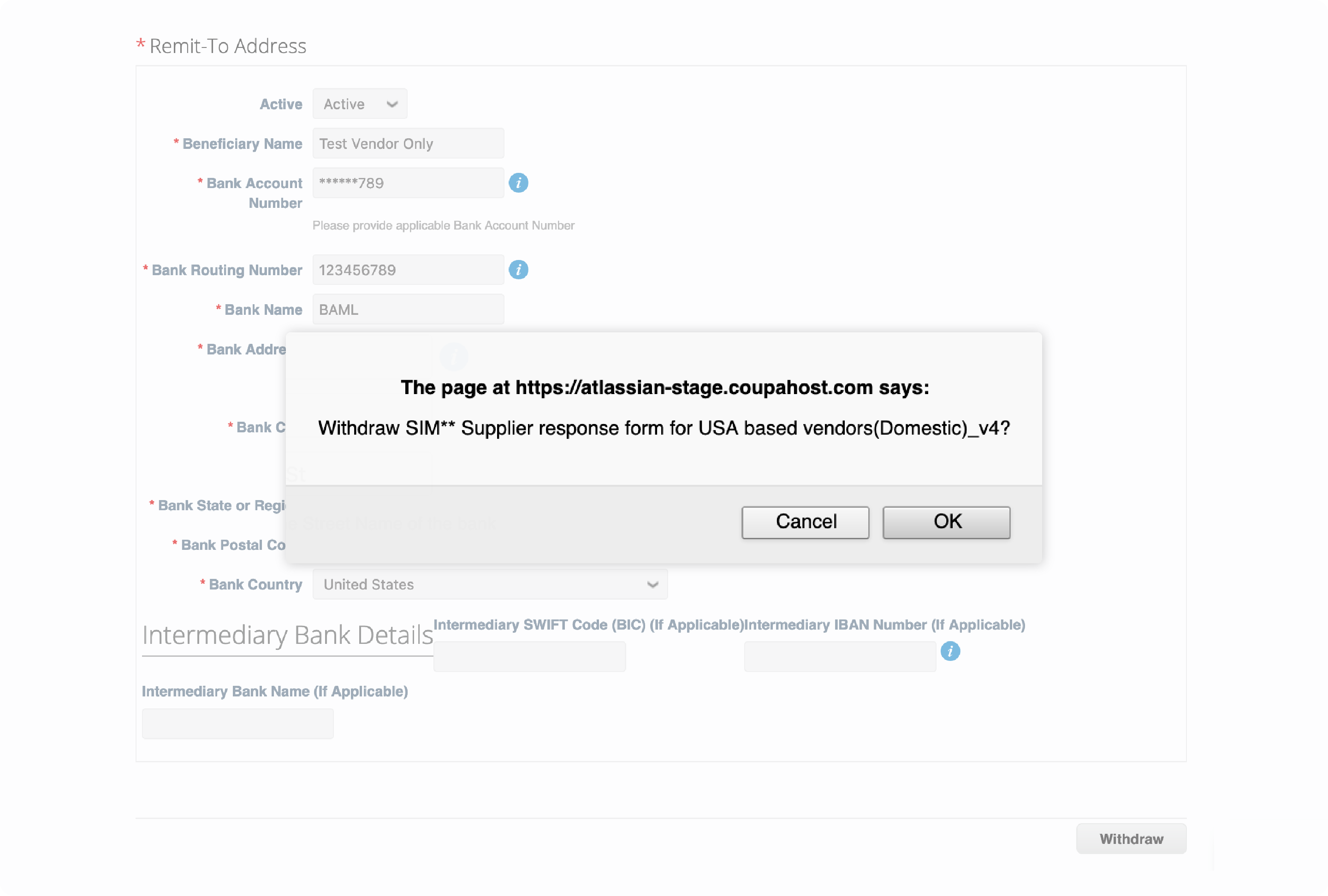 Pop-up box: The page at https://atlassian-stage.coupahost.com says: Withdraw SIM** Supplier response form for USA based vendors(Domestic)_v4?
