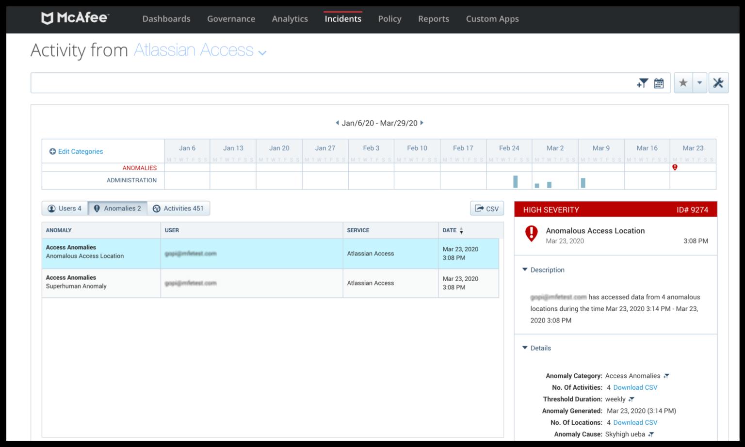 CASB integration screenshot
