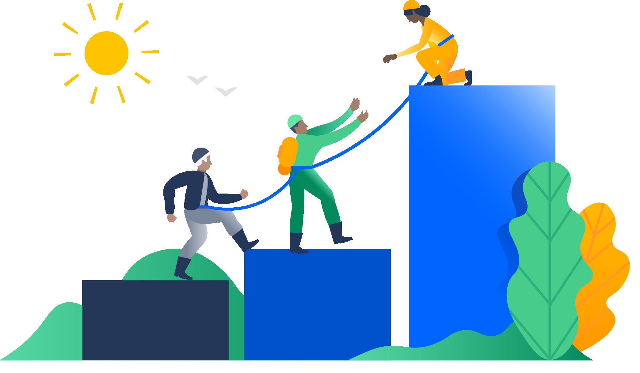 Ilustração de uma equipe escalando um gráfico de barras