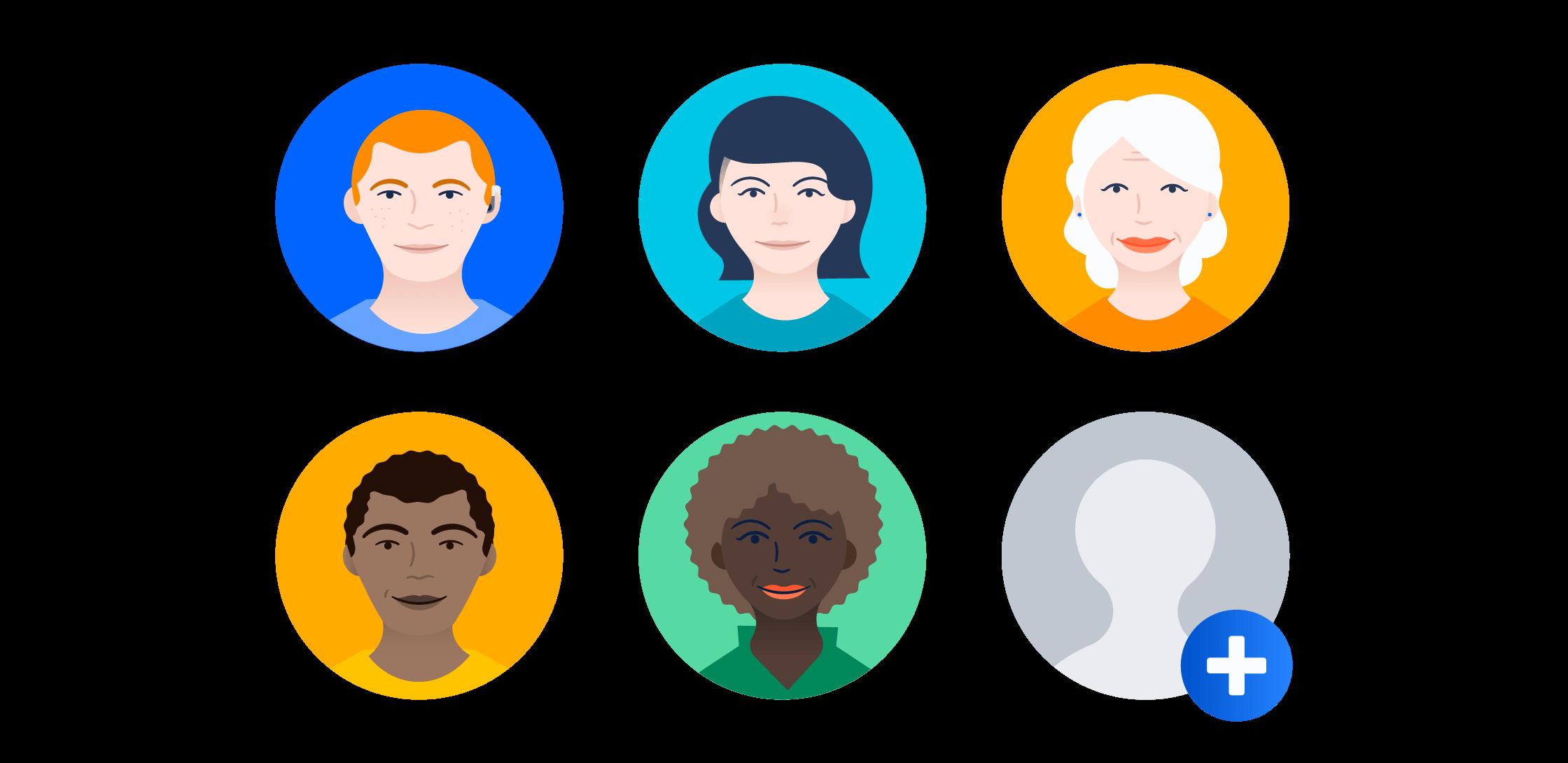 Group of meeple avatars