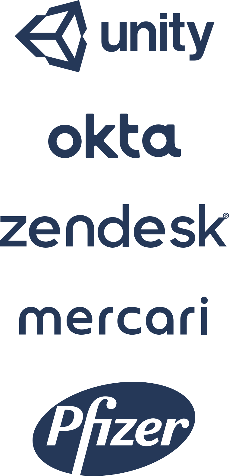 Logos: Unity, Okta, Zendesk, Mercari, Pfizer