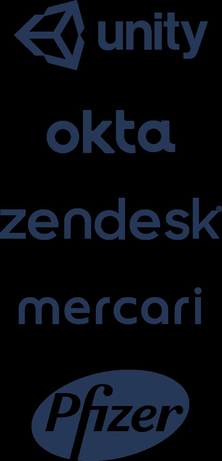 Logotipos da Unity, da Okta, da Zendesk, da Mercari e da Pfizer