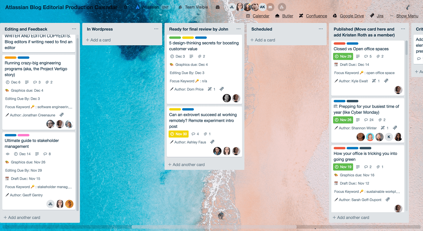Trello board with cards on keeping up to date