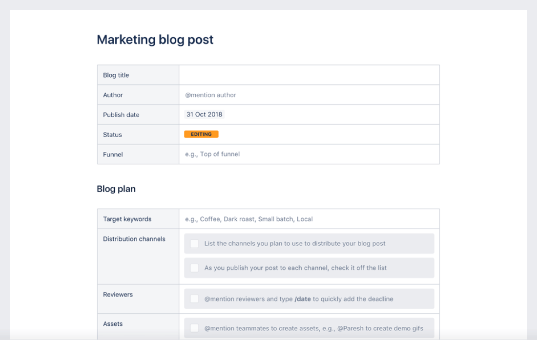 Marketing blog template