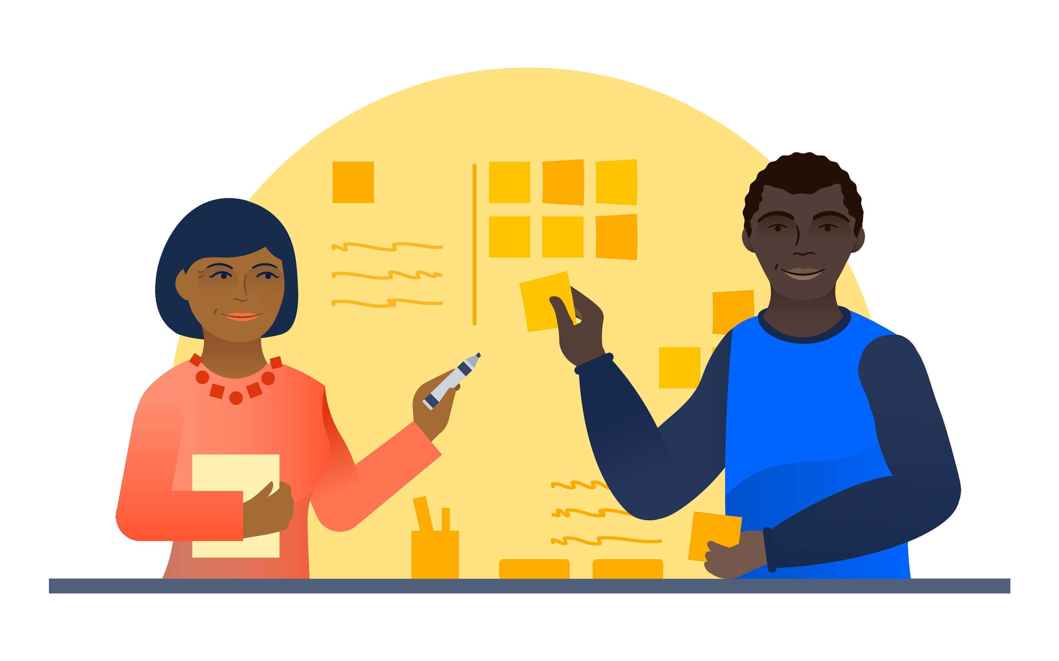 Um gerente de produto e um proprietário do produto colaborando por meio de notas adesivas e canetas | Atlassian Agile Coach