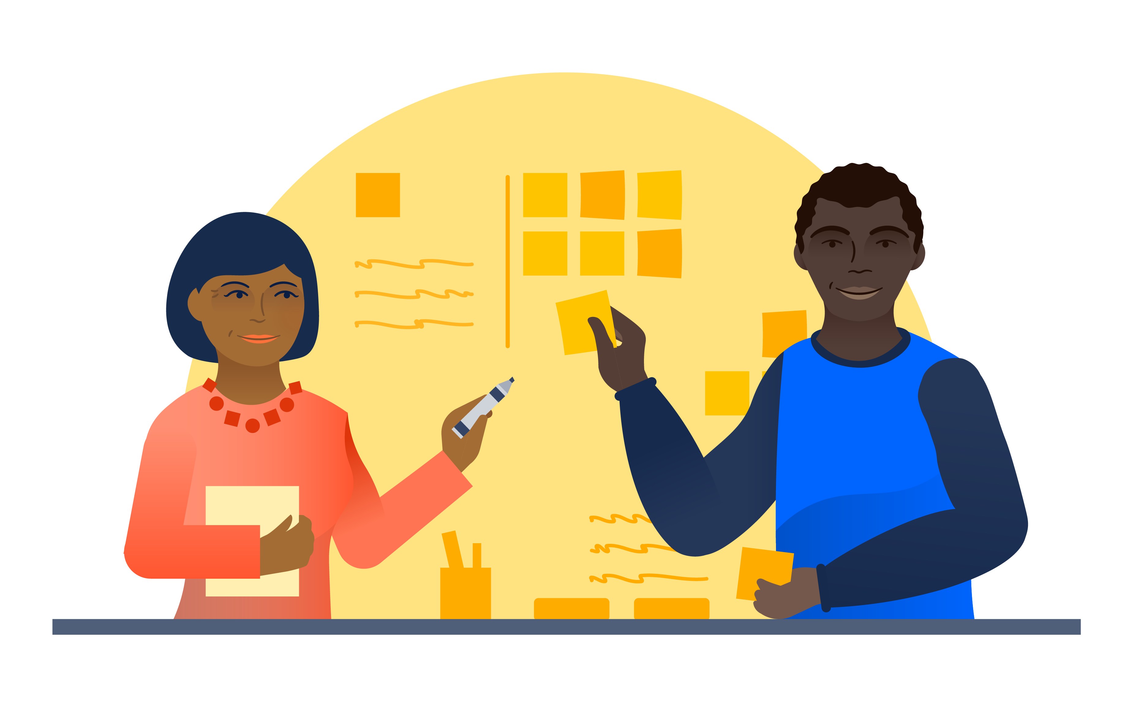 Un gestor y un propietario del producto colaboran con notas rápidas y bolígrafos | Orientador ágil de Atlassian