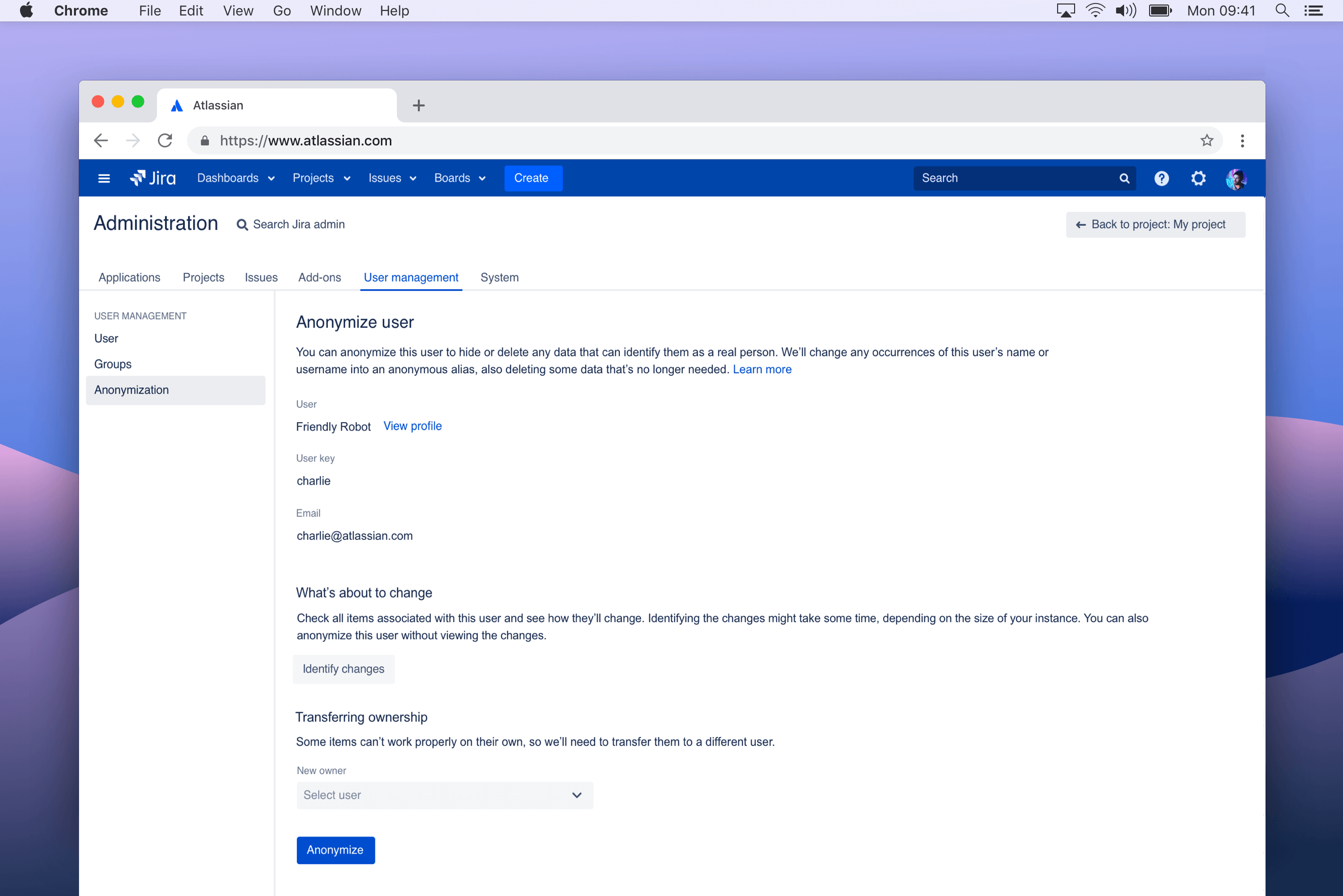 Jira Service Desk GDPR compliance screenshot