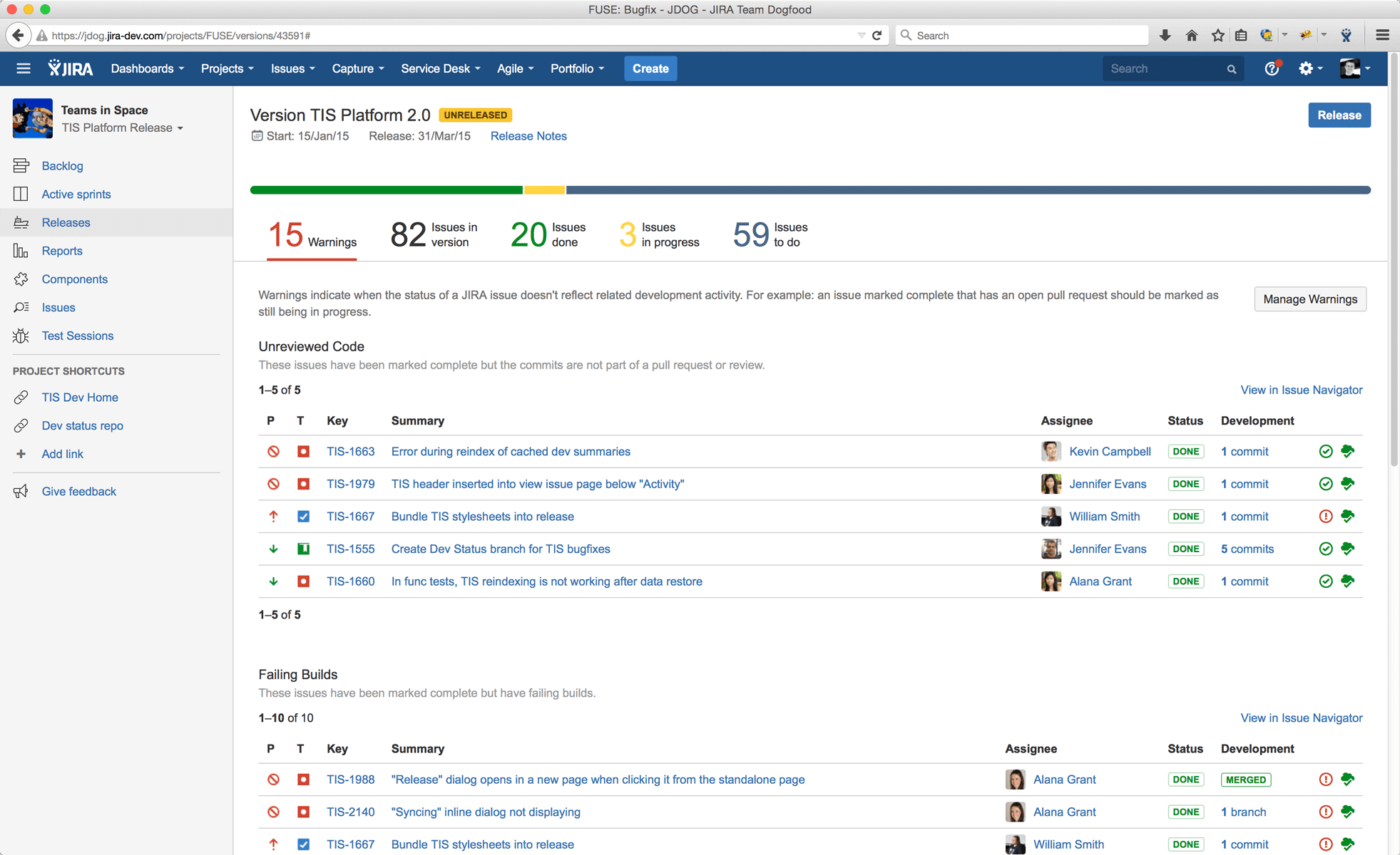 Screenshot of Jira board