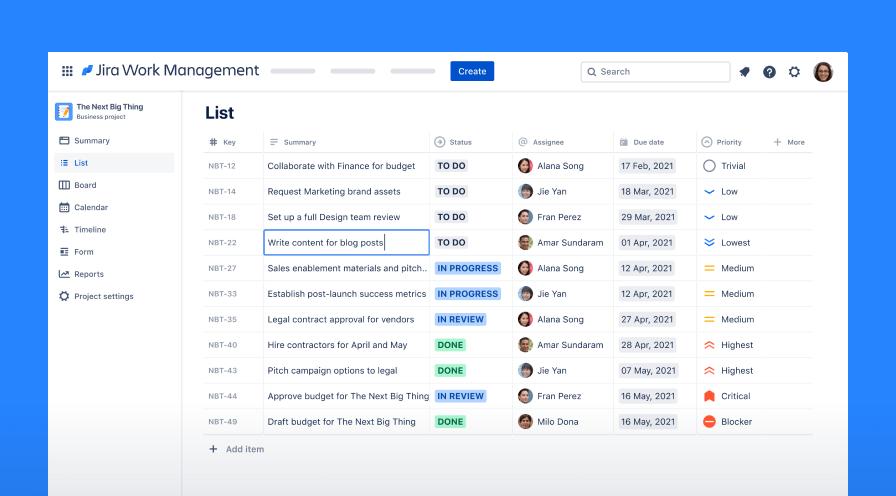 Jira Work Management screenshot