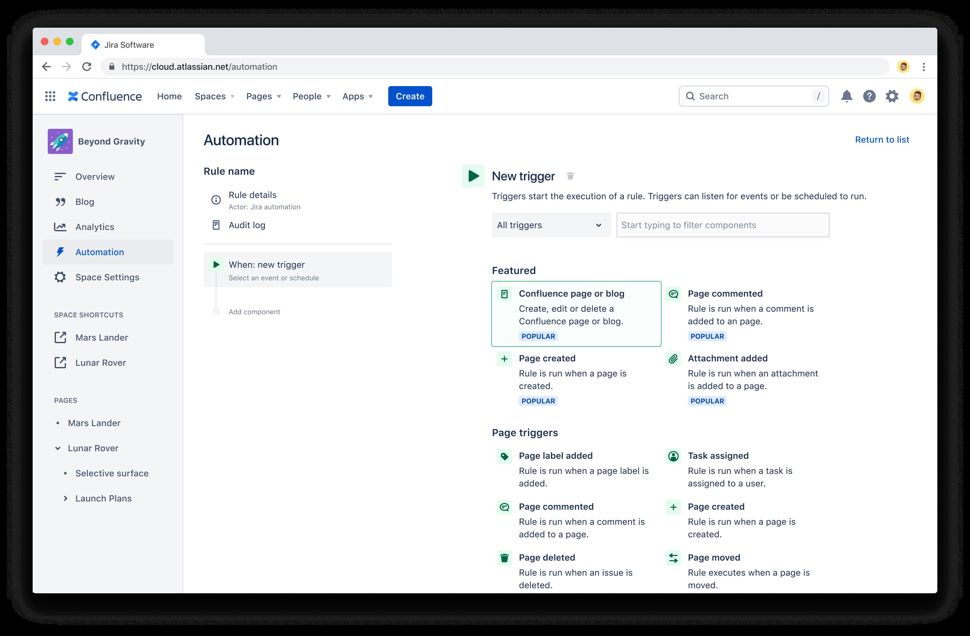 Capture d'écran de la fonctionnalitéAutomation