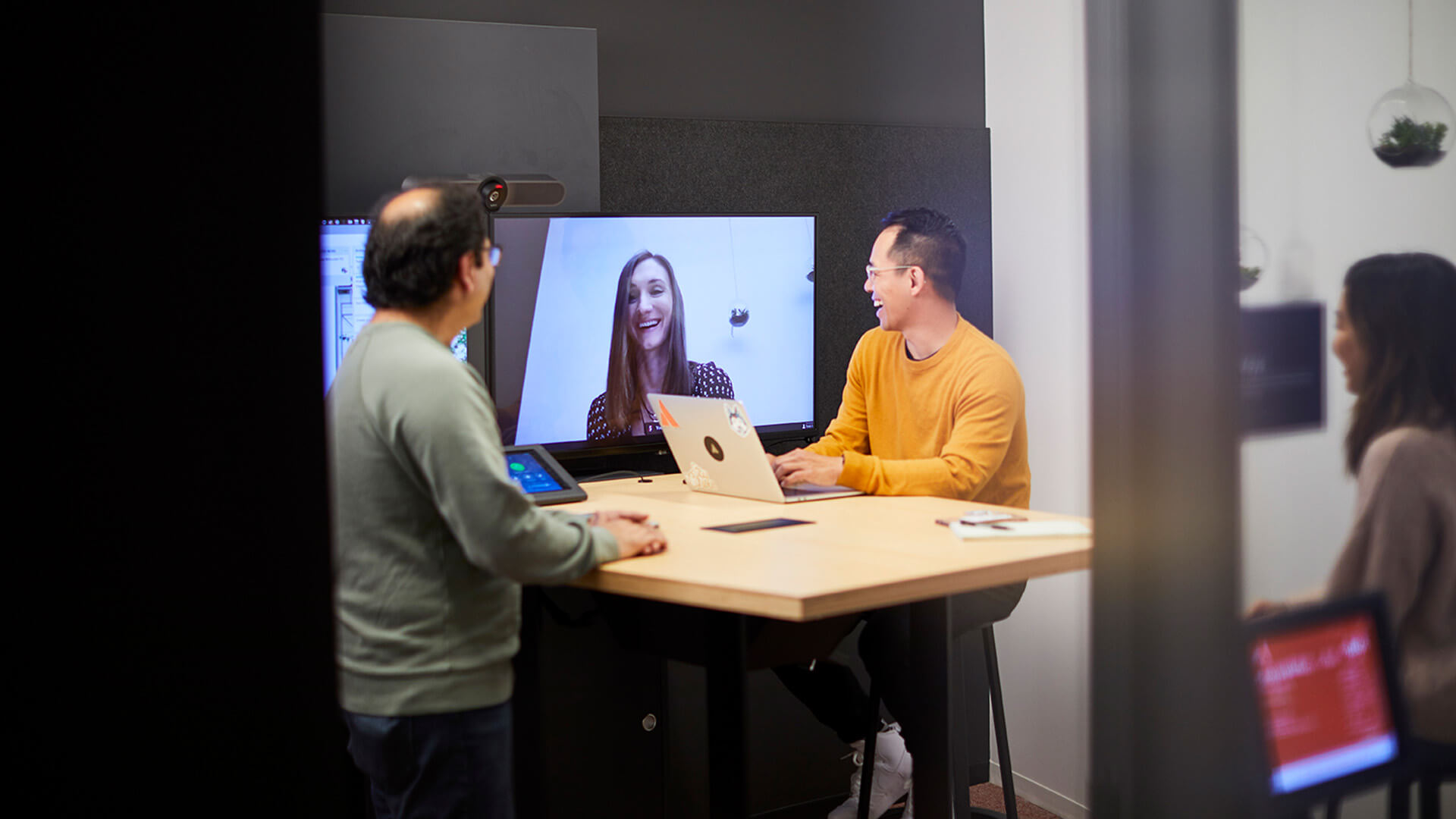 Team members video chatting