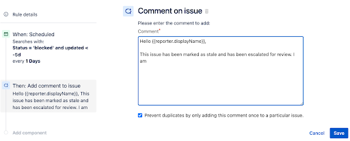 Comment on issue