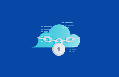 Cloud with lock and chain illustration