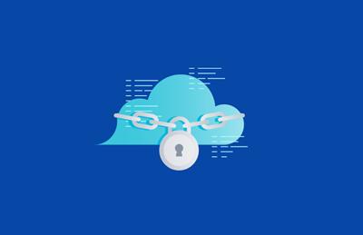 Illustrazione di una nuvola con lucchetto e catena