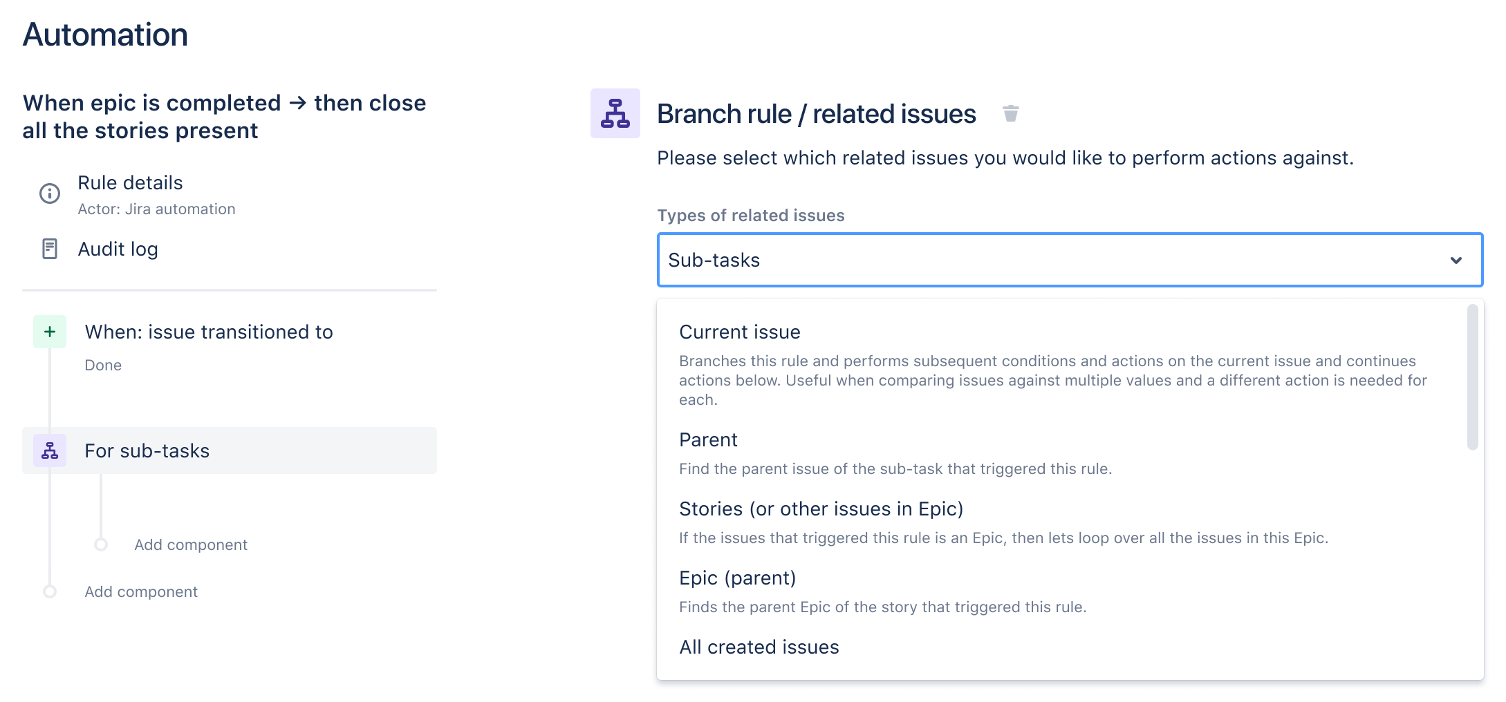 Setting up a related issues branch when creating a rule.