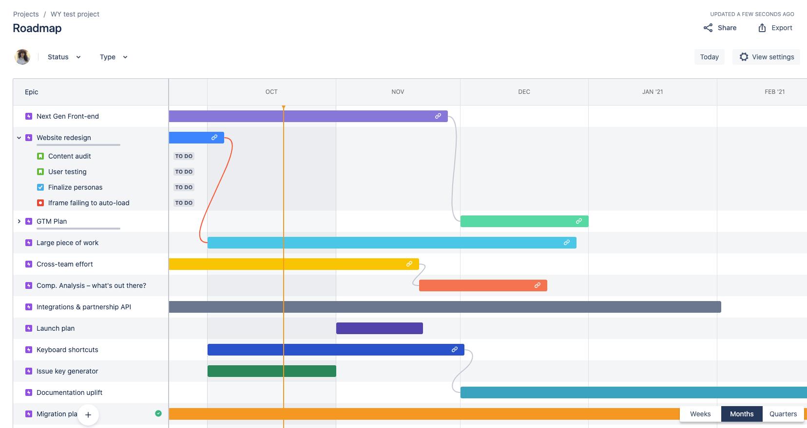 Jira Software 中的 Basic Roadmaps 视图
