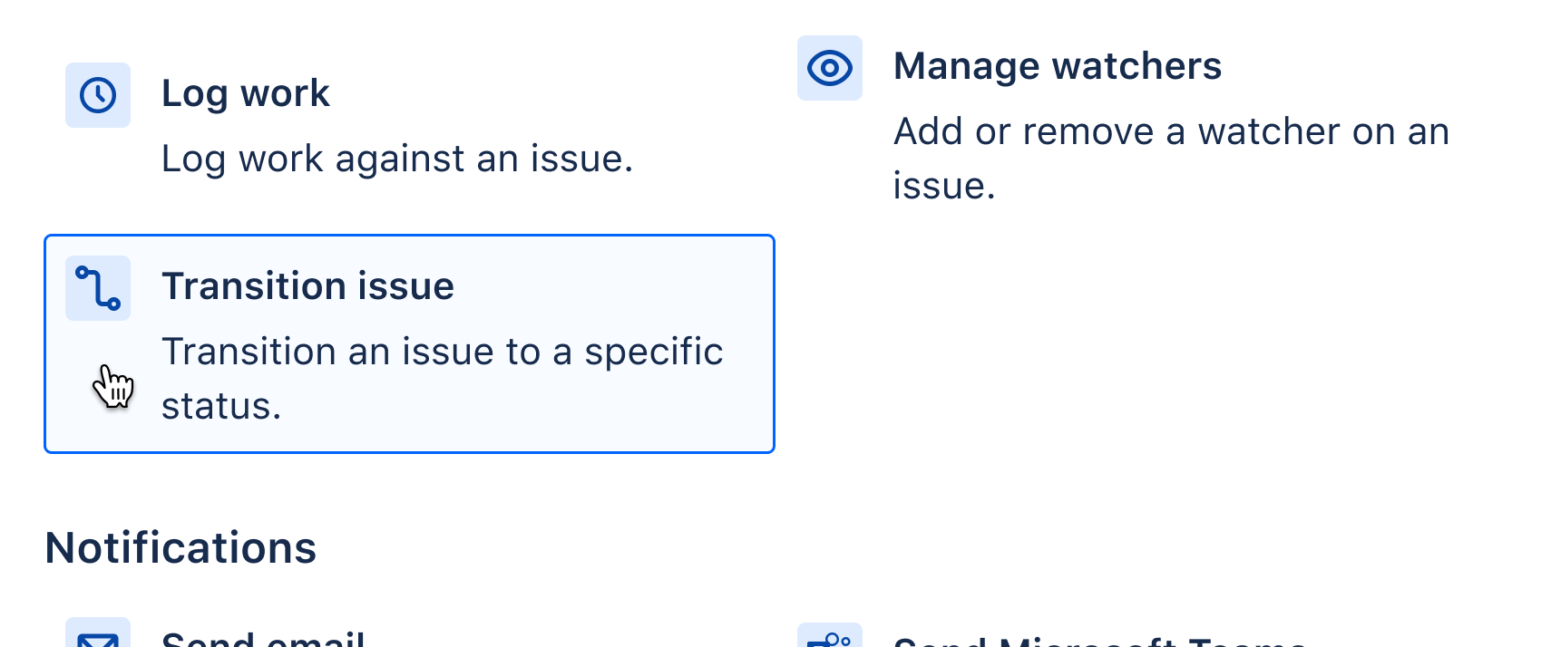 Adding Transition issue action