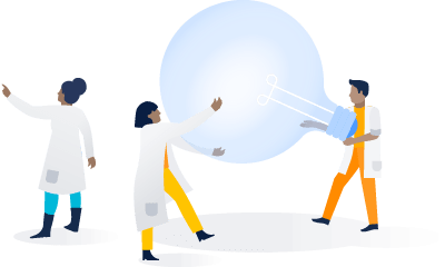 Científicos pasan alrededor de una bombilla