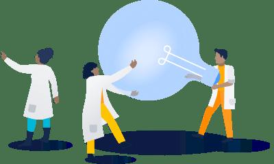 Scientists passing around lightbulb