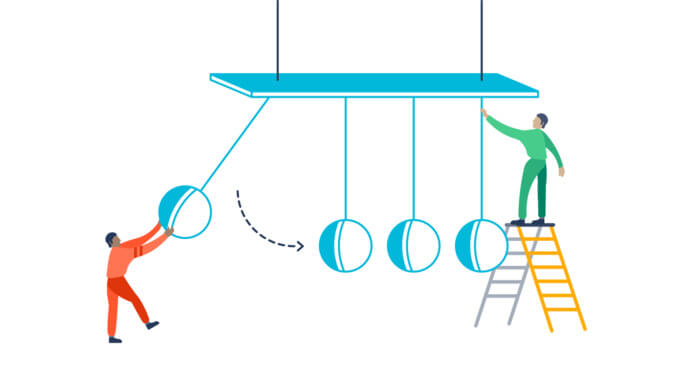 Illustration of people on a giant Newton's Cradle