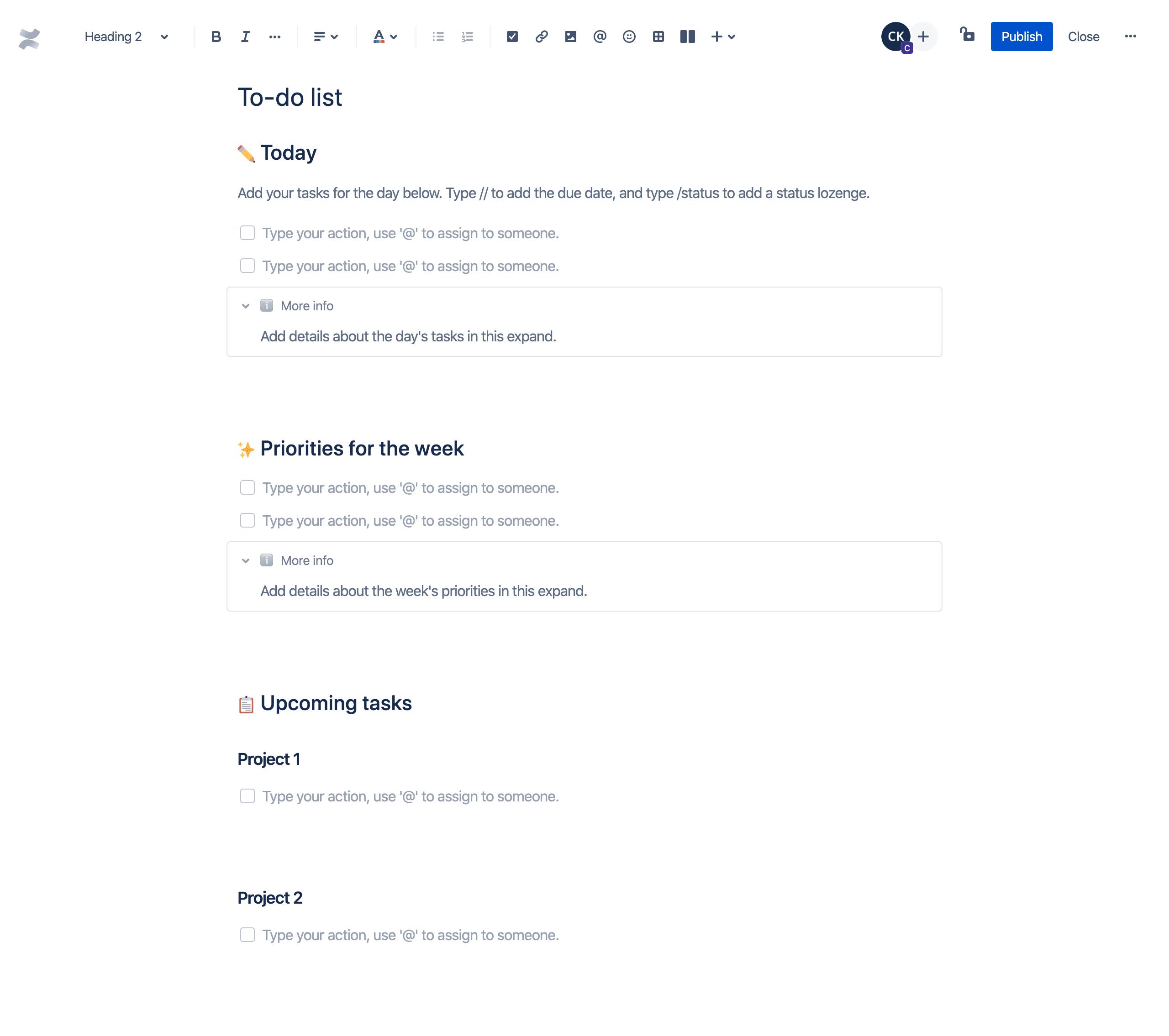 Шаблон списка задач