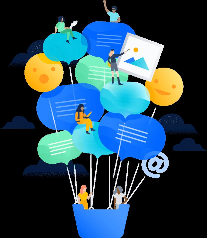 Ilustração da comunicação da equipe