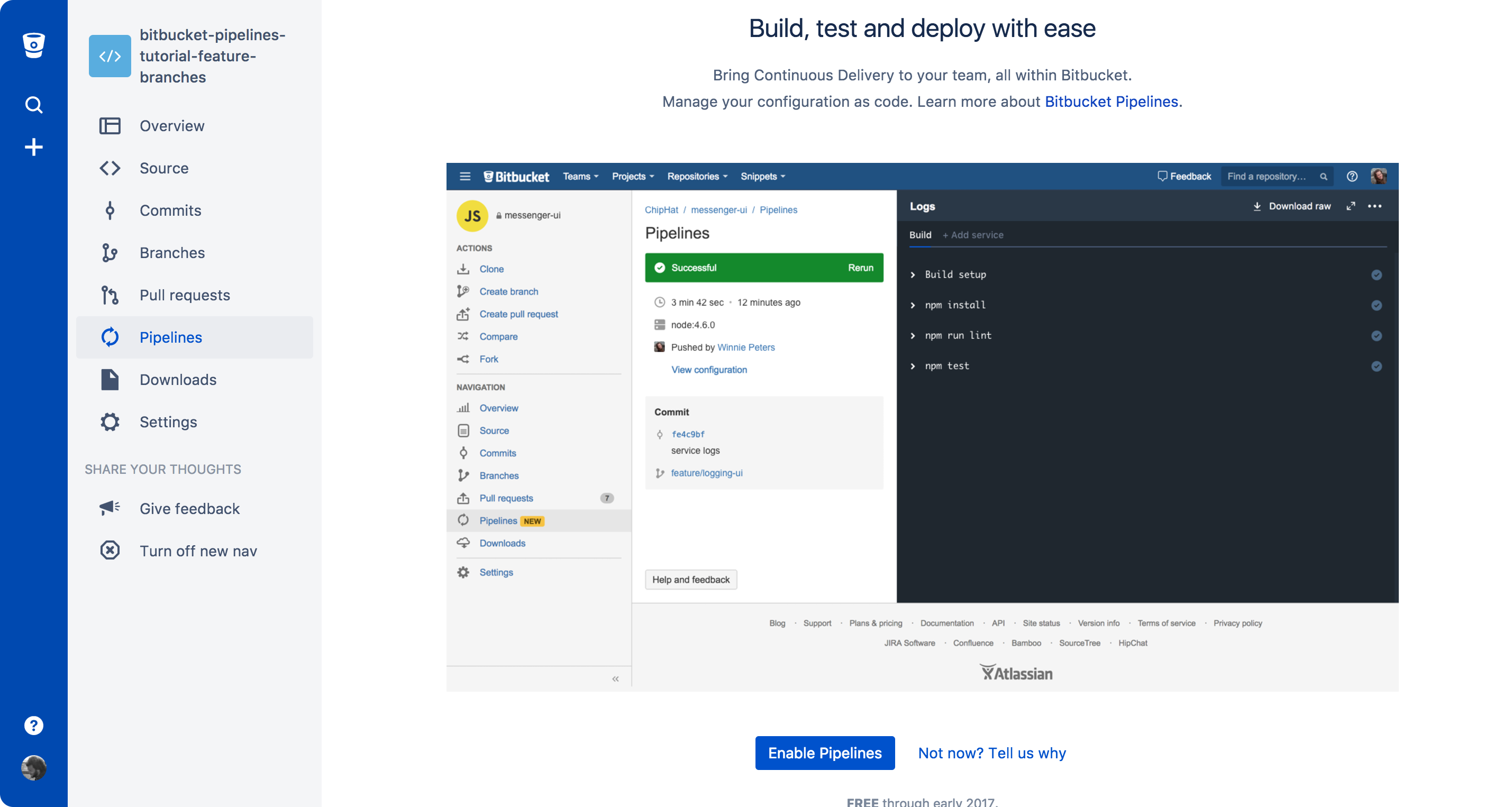 Bitbucket Pipelines is one click away for all your repositories