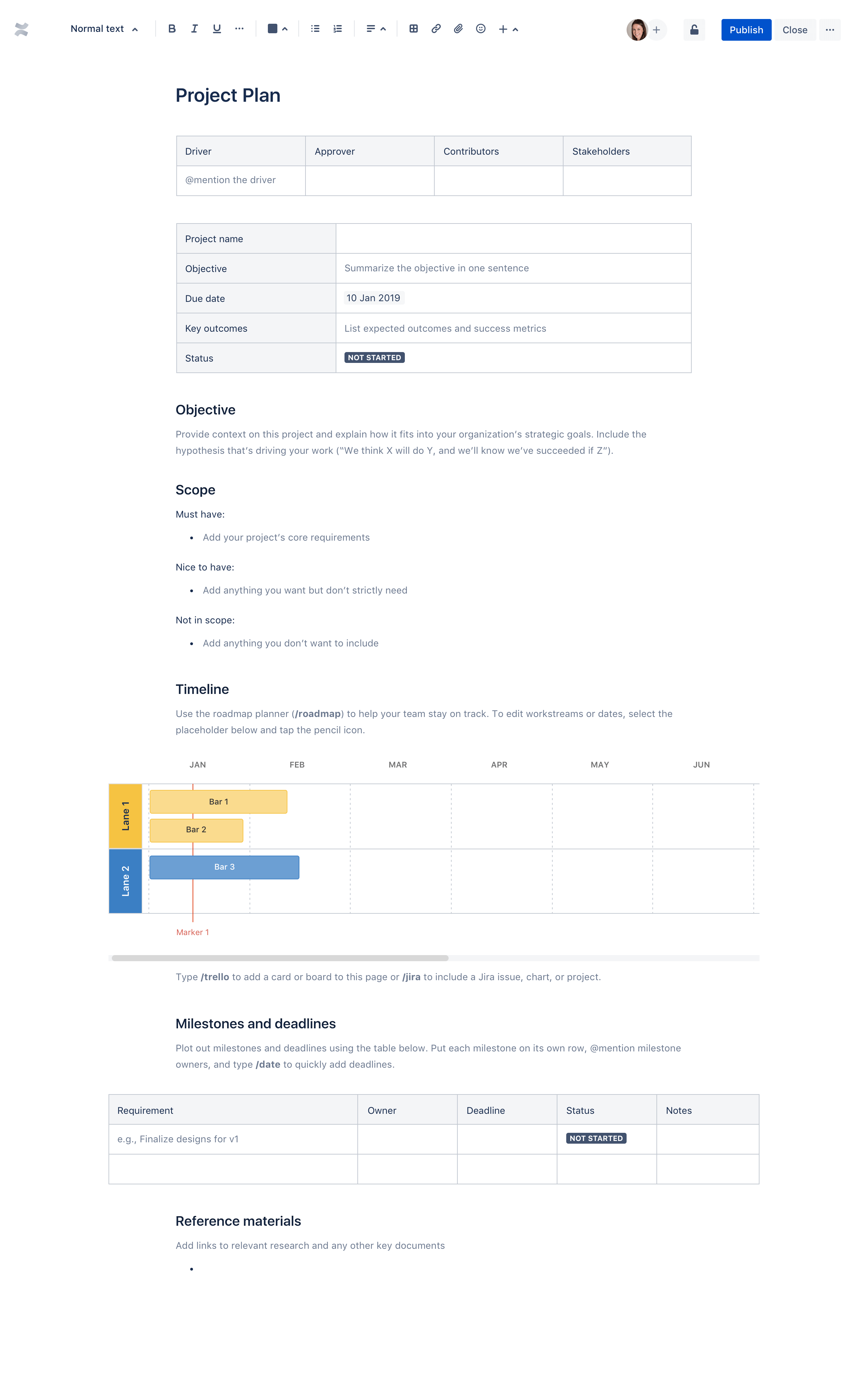 project plan template confluence atlassian