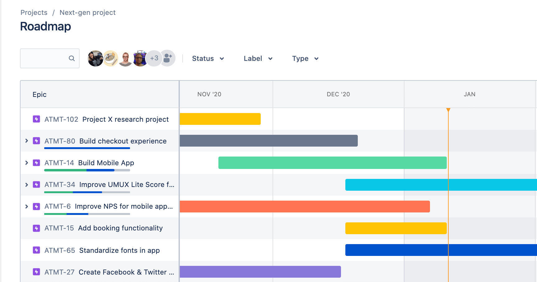 Roadmap view in Jira Software