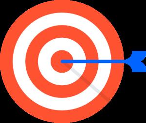 Pfeil in der Mitte einer Zielscheibe