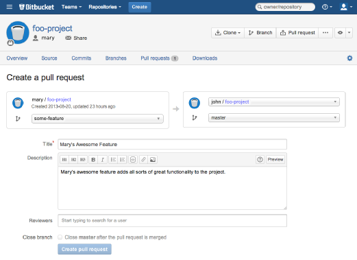 Pull requests : Bitbucket