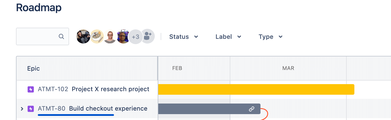 Filters and search option on the Jira Software roadmap