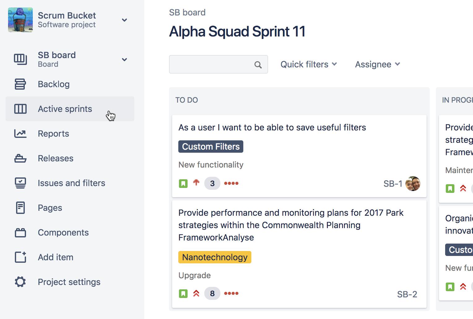 Sprints activos | Orientador ágil de Atlassian