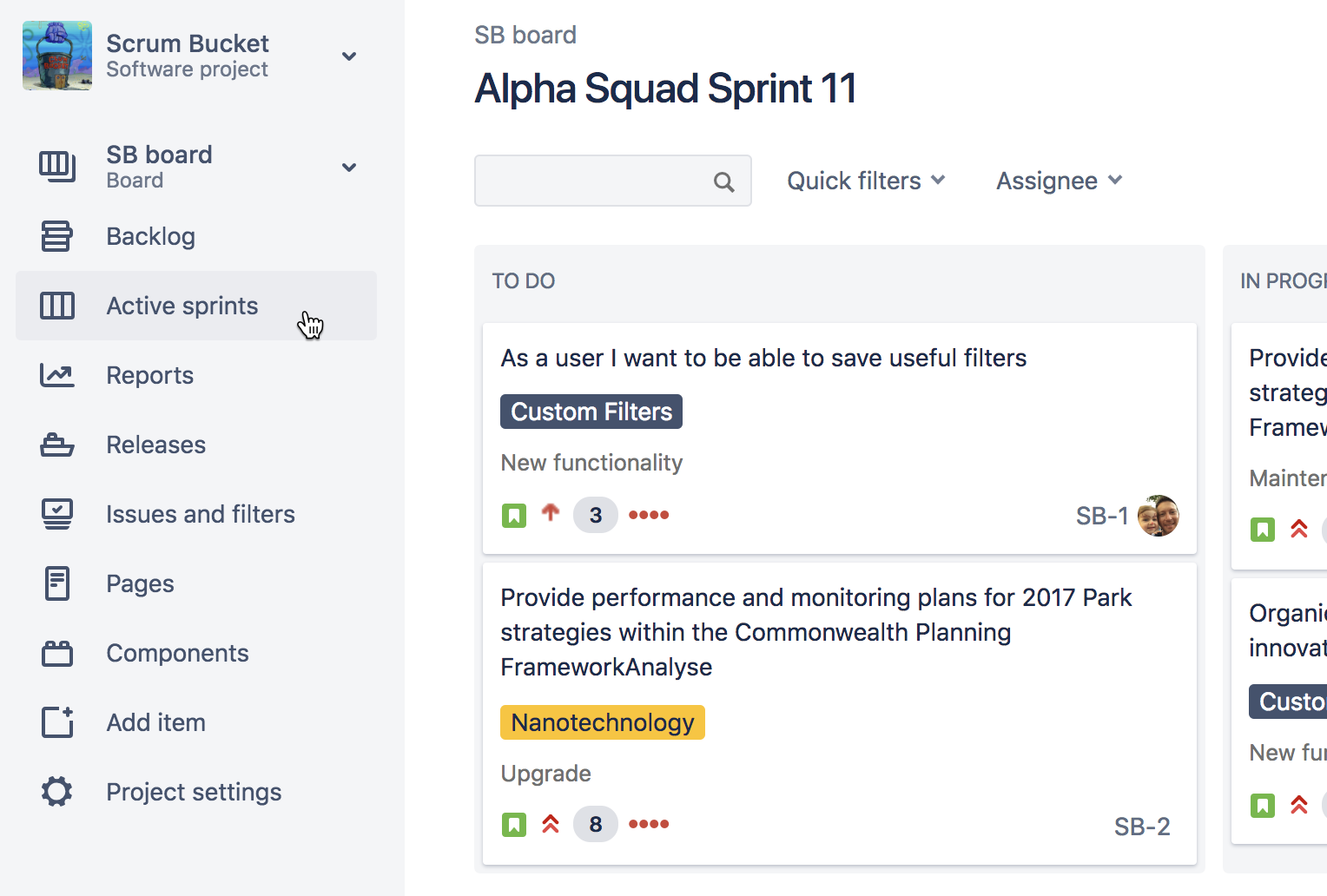 Sprints ativos | Coach Agile Atlassian