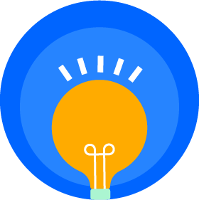 同心円内の「アイデア」電球