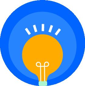 "An ""idea"" light bulb inside concentric circles."