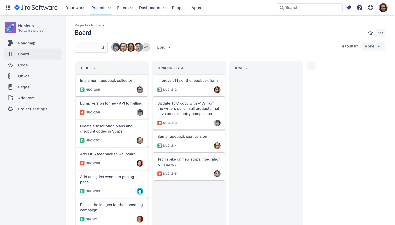 Jira Software kanban board