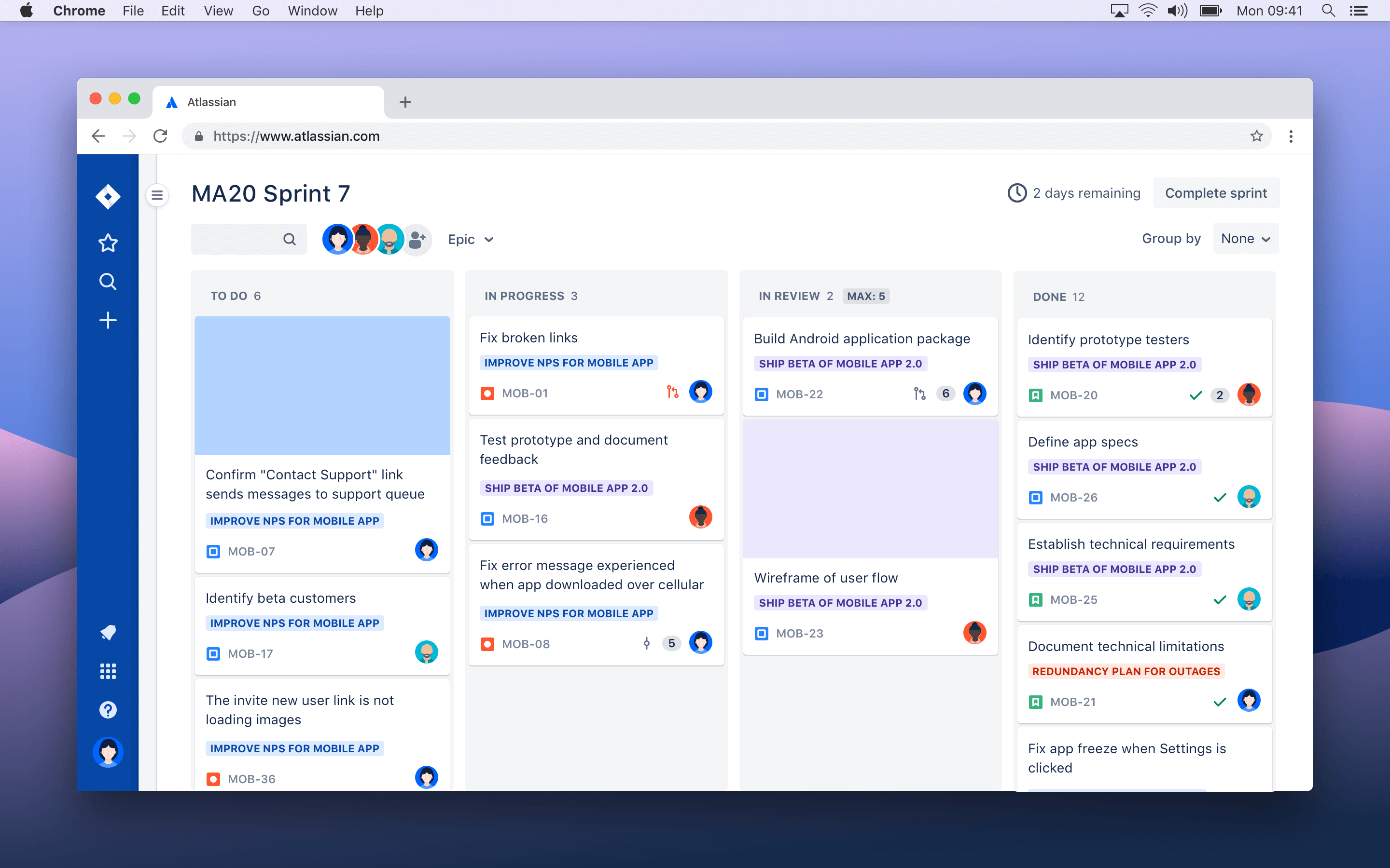 Scrum and Kanban board screenshot
