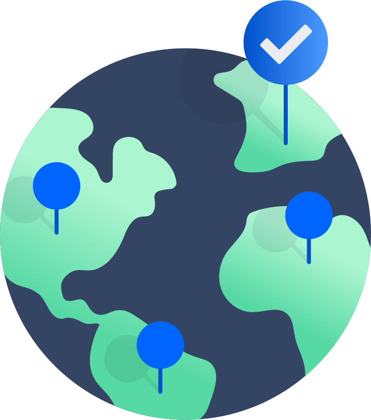 Mapa con chinchetas de ubicaciones