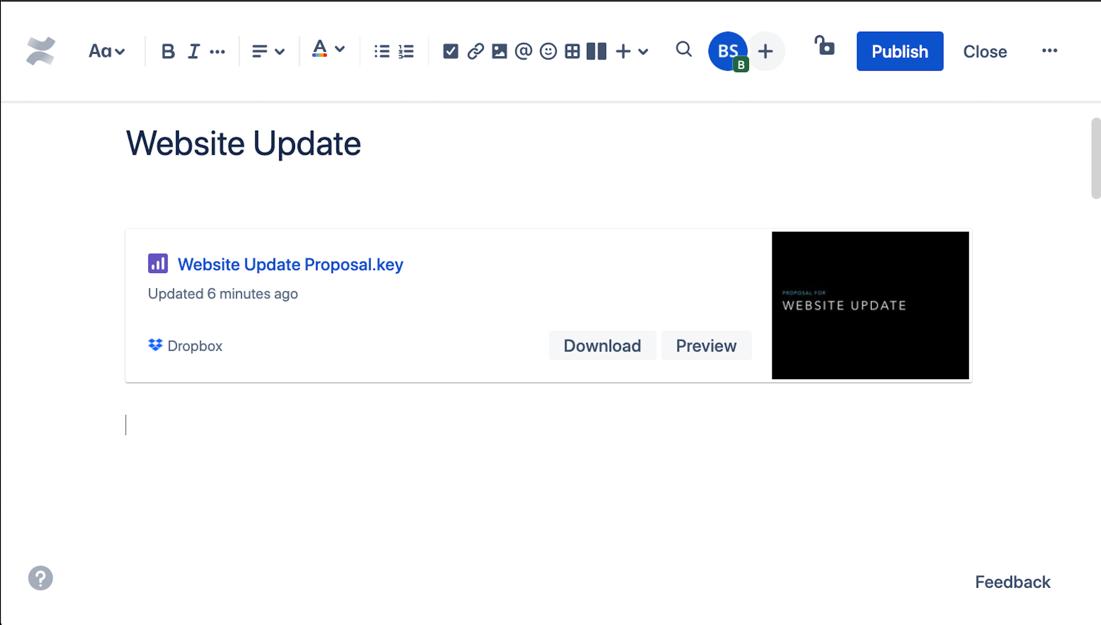 Screenshot dell'aggiornamento del sito Web