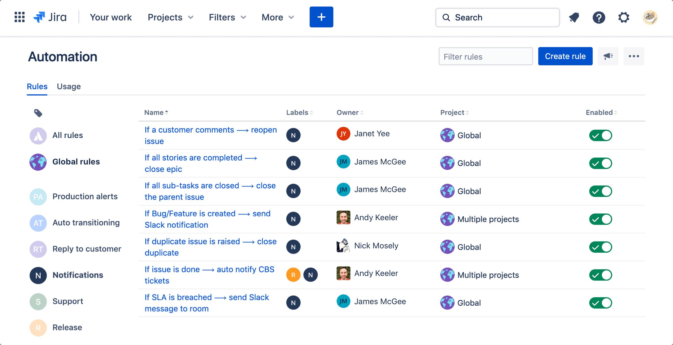 Screenshot: Automation