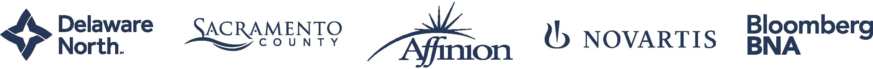 Faixa do logotipo da Delaware North, do Sacramento County, da Affinion, da Novartis e da Bloomberg BNA