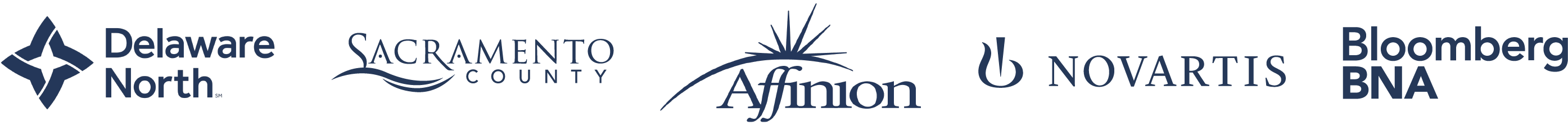 Logo strip of Delaware North, Sacramento County, Affinion, Novartis, and Bloomberg BNA