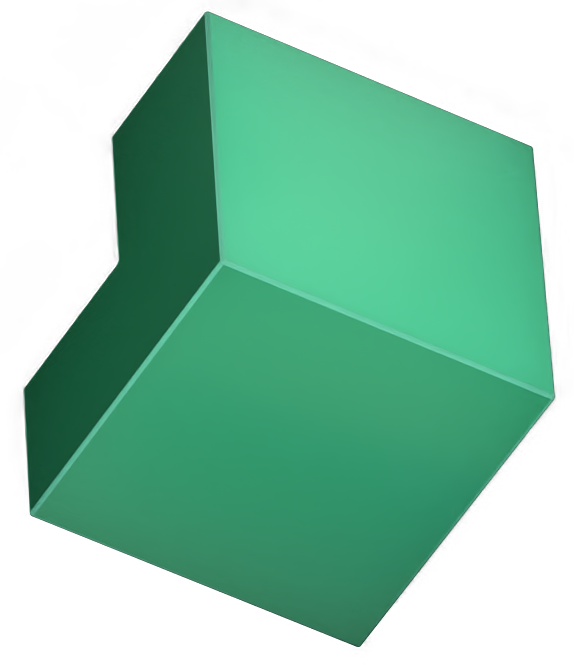 Floating cube with section removed
