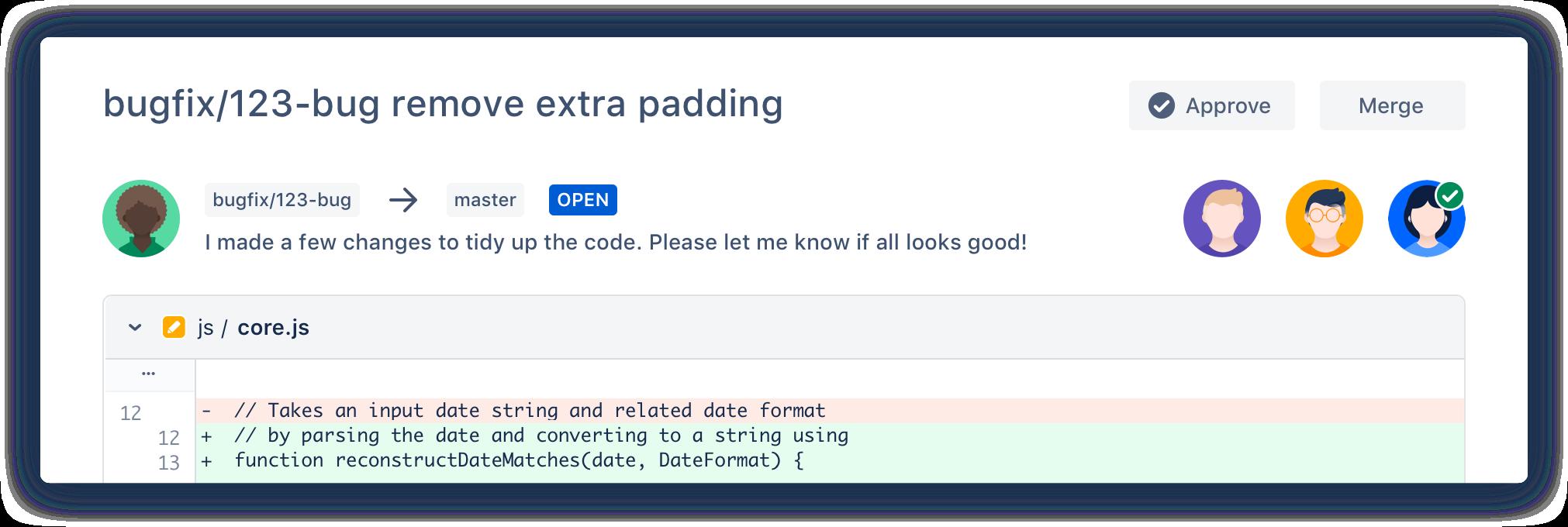 Příklad pull requestu v Bitbucketu
