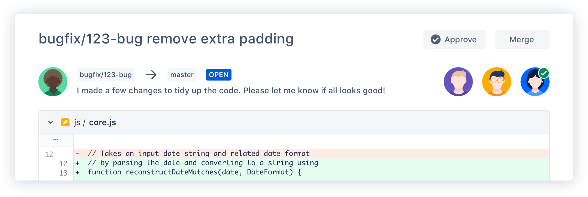 Bitbucket pull request example