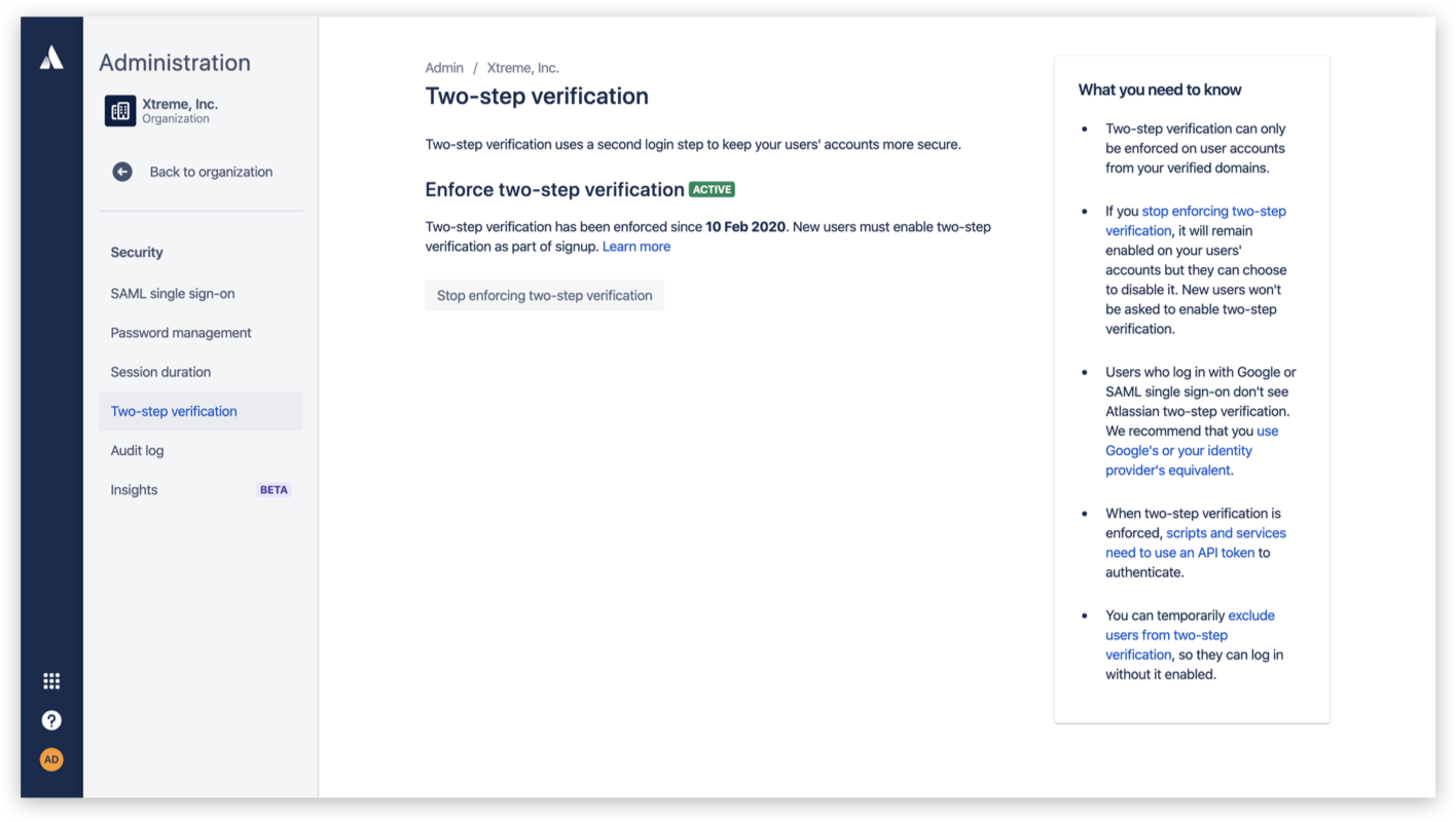 Enforced two step verification screenshot