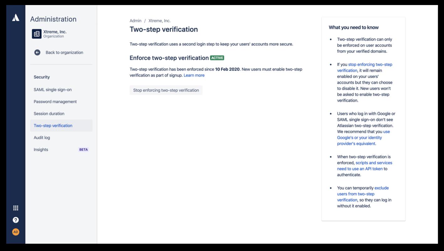 Screenshot della verifica in due passaggi forzata