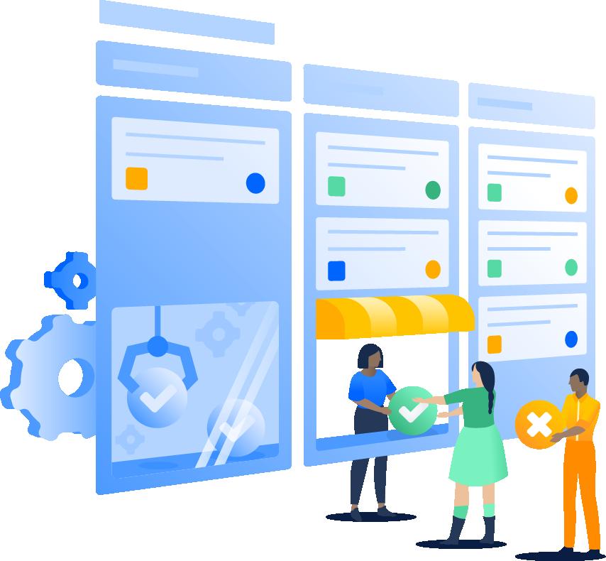 Graphic representing team collaboration